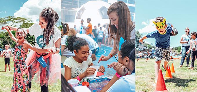 imagens de crianças e voluntários da última edição da Hamburgada do Bem